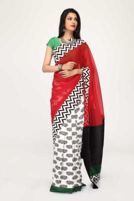 Sujatra Printed Fashion Georgette, Cotton Sari