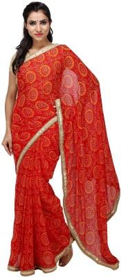 KALYANAM Self Design Bandhej Chiffon Sari