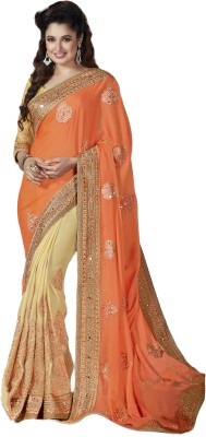 M.S.Retail Embroidered Bollywood Raw Silk Saree(Orange) at flipkart