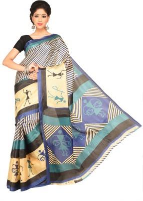 Chaand Sarees Striped, Graphic Print Ikkat Art Silk Sari