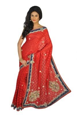 Vasundhara Lifestyle Self Design Fashion Chiffon, Brasso Sari