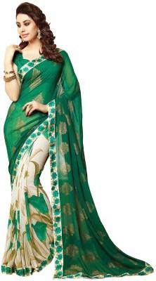 BOMBEY VELVAT FAB Floral Print Fashion Chiffon Sari