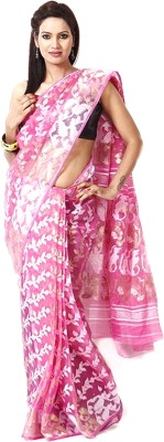 Purabi Woven Jamdani Handloom Silk Saree(Pink) at flipkart