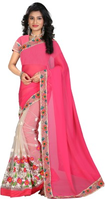 STARLIGHT CLUB Embroidered Fashion Net Sari(Pink)