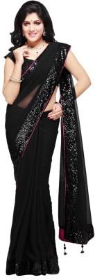 First Lady Solid Fashion Handloom Georgette Sari