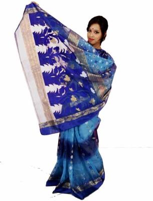 MCLS FASHION Woven Tant Handloom Tussar Silk Sari