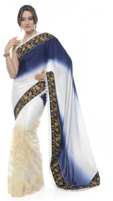 Purple Oyster Embriodered Fashion Crepe Sari