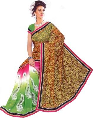 Aburadha Saree Embriodered Bollywood Handloom Brasso Fabric, Chiffon Sari