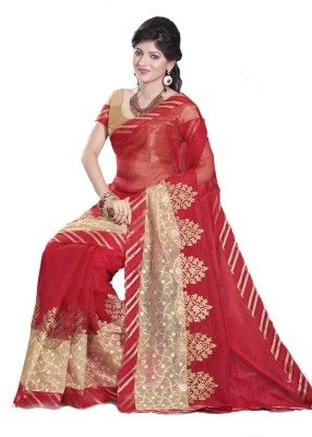 Glad2baWoman Checkered, Self Design, Floral Print Bomkai Net Sari
