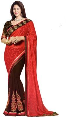 Om Shantam Saree's Embriodered Bollywood Jacquard, Georgette Sari