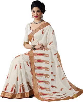 M.S.Retail Embroidered Fashion Cotton, Silk Saree(White) at flipkart
