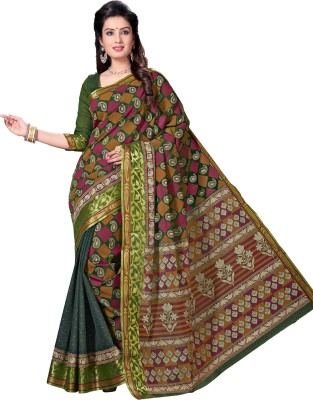 M.S.Retail Paisley Gadwal Cotton Saree(Green) at flipkart