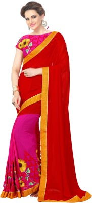 Onlinefayda Self Design Bollywood Georgette Saree(Red, Pink) at flipkart