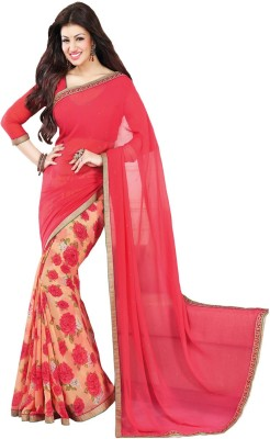 Sareeberry Floral Print Bollywood Georgette Saree(Pink) at flipkart