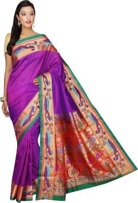 Mahila Silks Self Design Paithani Art Silk Sari