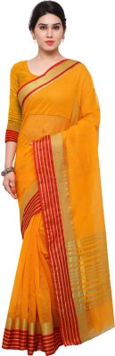 Ratnavati Striped Kanjivaram Art Silk Saree(Yellow, Gold, Red) at flipkart