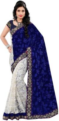 Unique Exim Floral Print Fashion Velvet Sari