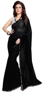 Mirchi Fashion Solid Synthetic Georgette Saree(Black) at flipkart