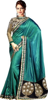 Shoppershopee Embriodered Bollywood Satin, Georgette Sari