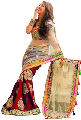 Fidubi Embriodered Fashion Georgette, Net Sari