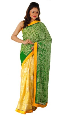 ZOBHITA Embriodered, Floral Print, Self Design, Woven Bollywood Chiffon, Synthetic, Crepe Sari