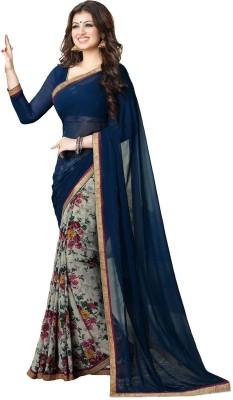 suman fashion Self Design, Geometric Print, Striped, Printed Bollywood Georgette Sari