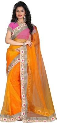 STARLIGHT CLUB Embroidered Fashion Net Sari(Orange)