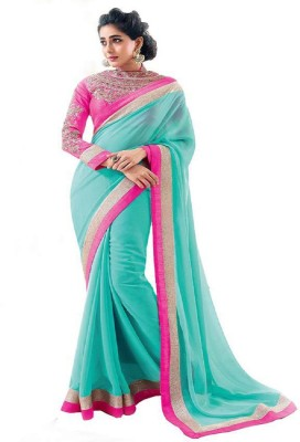 Wowcreation Solid Bollywood Handloom Georgette Sari