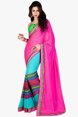 Shaily Embroidered Fashion Jacquard Saree(Pink) at flipkart