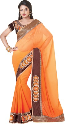 Shop Plaza Embriodered, Plain Daily Wear Chiffon Sari