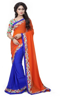 Aashvi Creation Floral Print Bollywood Georgette Saree(Blue, Orange) at flipkart