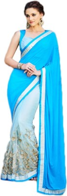 Linenplus Embriodered Bollywood Georgette, Net, Satin Sari