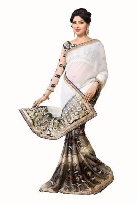 Crafts N Culture Solid Fashion Chiffon, Satin Sari