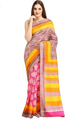 Lime Printed Fashion Art Silk Sari