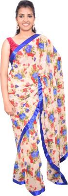 pujarika Floral Print Venkatagiri Chiffon Sari