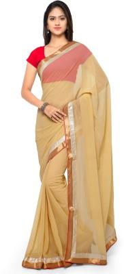 Suali Embroidered Fashion Georgette Saree(Beige) at flipkart