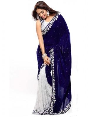 Shree Khodal Enterprise Embriodered Fashion Velvet Sari