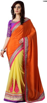 Krishna Prints Embriodered Bollywood Georgette, Crepe Sari