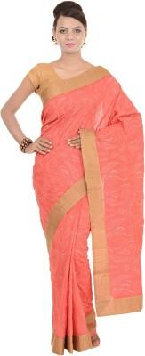 Kdc Sarees Embroidered Banarasi Handloom Tussar Silk Sari(Red)