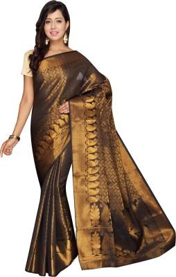 Pavechas Self Design Banarasi Silk Cotton Blend Saree(Gold) at flipkart