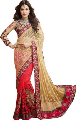 Kmozi Embriodered Fashion Jacquard, Net, Georgette Sari