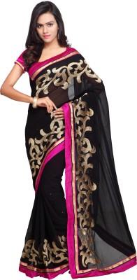 Aruna Sarees Embroidered Bollywood Handloom Chiffon Saree(Black, Pink)