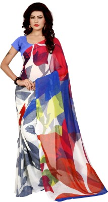 FabPandora Floral Print Bollywood Georgette Saree(White, Blue) at flipkart