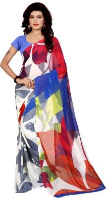 FabPandora Floral Print Bollywood Georgette Saree(White, Blue) at flipkart