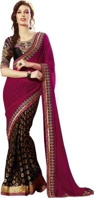 Zenny Creation Solid Bollywood Georgette Sari