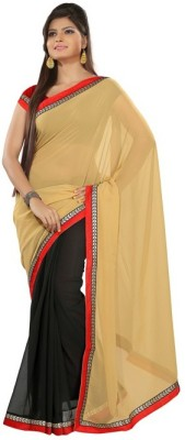 Nanda Silk Mills Solid Fashion Georgette Sari