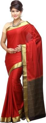Nalliee Plain Mysore Synthetic Crepe Sari