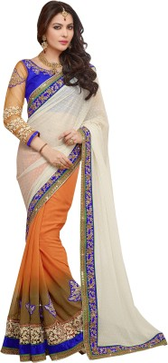 RJP Self Design, Embriodered Fashion Georgette, Lace Sari