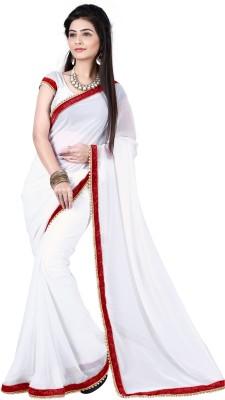 Angel Silk Group Plain Fashion Georgette Sari