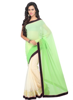 Shree Parmeshwari Solid Fashion Net, Georgette Sari